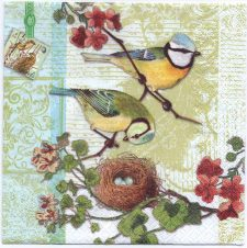 Paper Napkins Bird Family with Birdnest