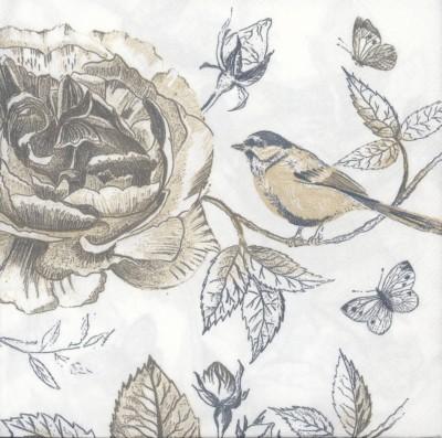 Decoupage Paper Napkins | Bird Rose Butterflies | Bird Napkins | Rose Napkins | Floral Napkins | Garden | Paper Napkins for Decoupage