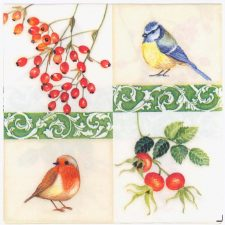 Decoupage Paper Napkins | Birds and Berries | Bird Napkins | Napkin Decoupage | Party Napkins | Lunch Napkins | Paper Napkins for Decoupage