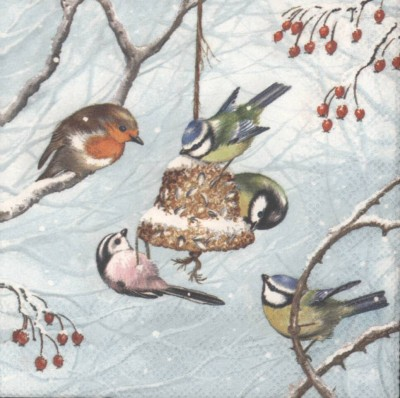 Decoupage Paper Napkins | Winter Birds in the Snow with Holly | Bird Napkins | Winter Napkins Snow Napkins Paper Napkins for Decoupage