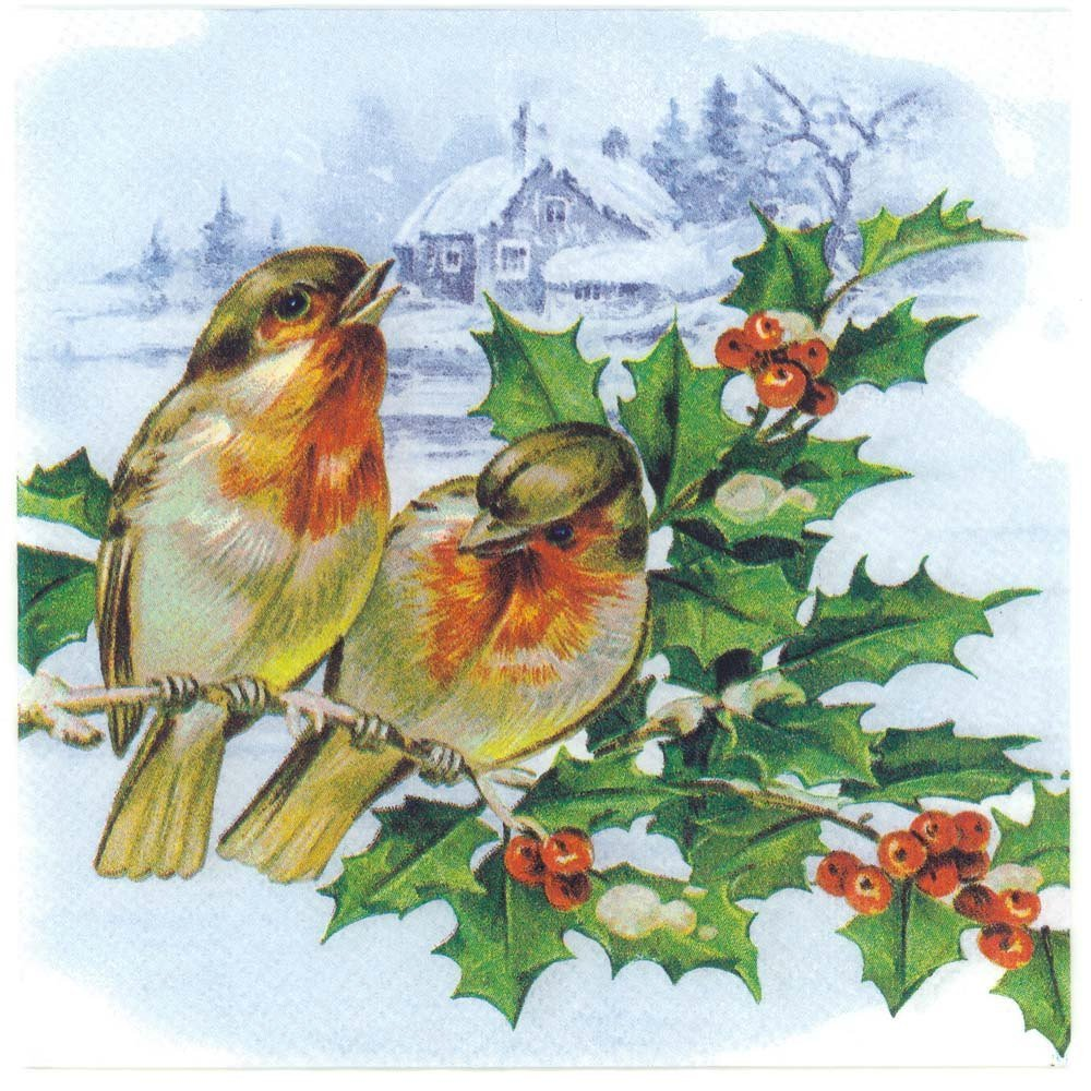 Decoupage Napkins of Christmas Bullfinches Mistletoe  : decoupage paper napkins bullfinches birds mistletoe winter snow CHN00346 01 from chiarotino.com size 1000 x 1000 jpeg 252kB