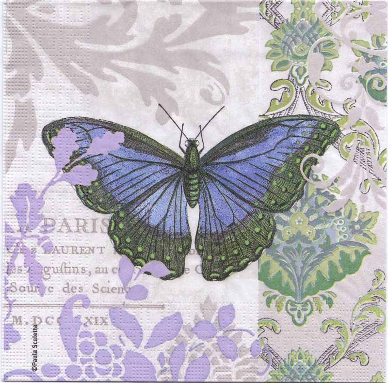 Decoupage Napkins Of Blue French Butterfly With Fleur De