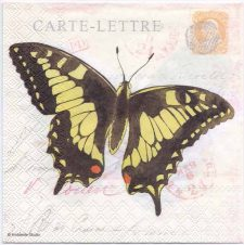 Decoupage Paper Napkins | 4 Butterflies on French Postcards | Paper Napkins for Decoupage