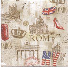 Decoupage Paper Napkins - Capitol Cities Paris London Rome Berlin NY | Paper Napkins for Decoupage