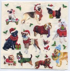 Art Paper Napkins for Collage Decoupage Altered Art Mixed Media | 12 Dogs Dressed up for Christmas | Cocktail Napkins