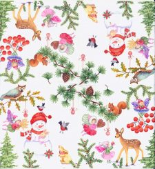 Decoupage Paper Napkins | Christmas Fairy Garden with Wildlife Snowman Mistletoe Owl Birds Fawn Squirrel | Paper Napkins for Decoupage