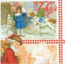 Decoupage Paper Napkins | Christmas Girl with Santa Claus and Dog | Party Napkins | Christmas Napkins | Paper Napkins for Decoupage