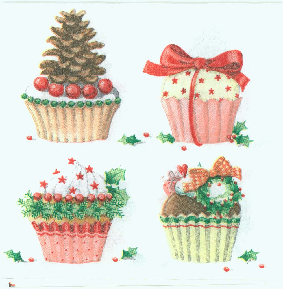 Decoupage Paper Napkins Of Christmas Cupcake Party