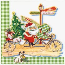 Decoupage Paper Napkins | Santa Claus on Bicycle Presents Puppy | Christmas Napkins | Paper Napkins for Decoupage