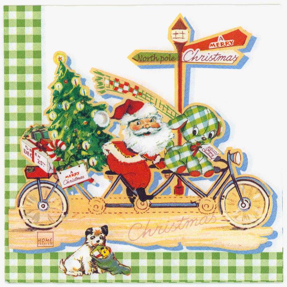 decoupage napkins of christmas santa claus bicycle presents puppy - Santa Claus With Presents