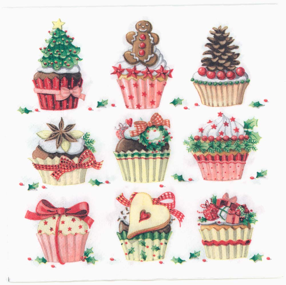Christmas Napkins.Decoupage Paper Napkins Of Christmas Party Cupcakes Muffins Sweets