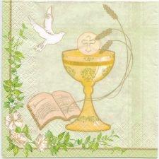 Decoupage Paper Art Napkin | Communion Chalice with Dove | First Communion Napkins  | Paper Napkins for Decoupage