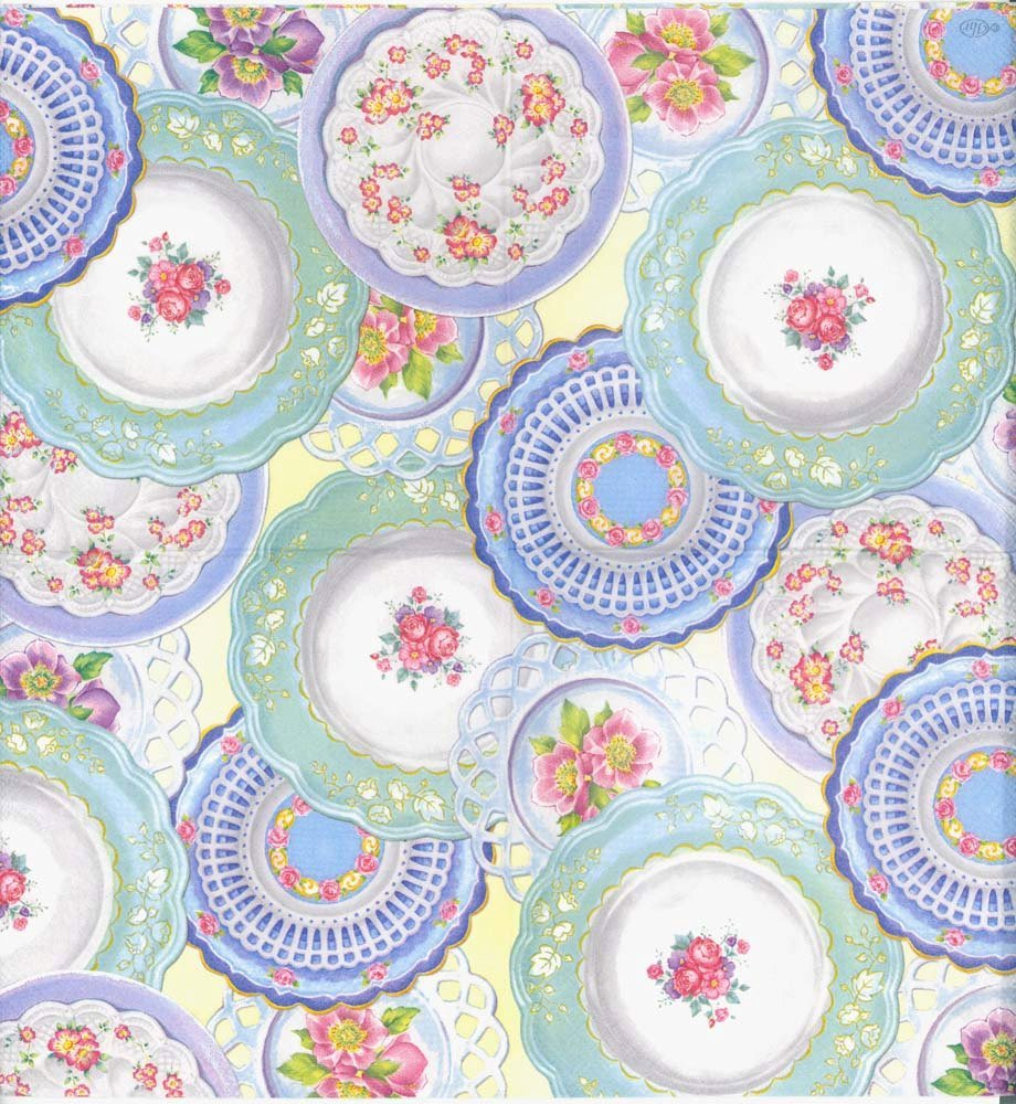 Decoupage Napkins of Dinner Plate Collection