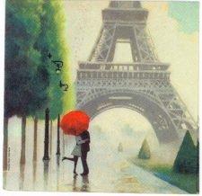 Decoupage Paper Napkin Paris Lovers Kiss Eiffel Tower