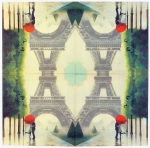 Decoupage Paper Napkini Paris Lovers Kiss Eiffel Tower Rain Umberella