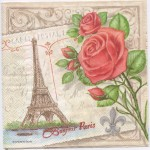 Decoupage Paper Napkins | Eiffel Tower and Paris Roses | Paper Napkins for Decoupage