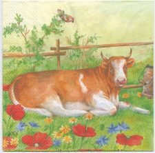 Decoupage Paper Napkins | Farm Yard Cow Geese Birds Flowers | Paper Napkins for Decoupage
