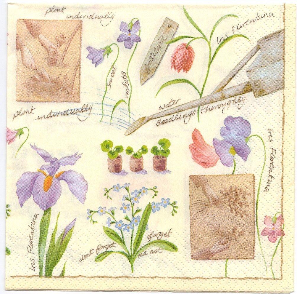 Decoupage Napkins of Garden Flowers Irises Violets Forget Me Nots