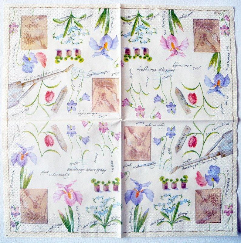 Decoupage napkins of garden flowers irises violets forget me nots decoupage paper napkins garden flower planting irises violets forget me nots design lunch napkin mightylinksfo