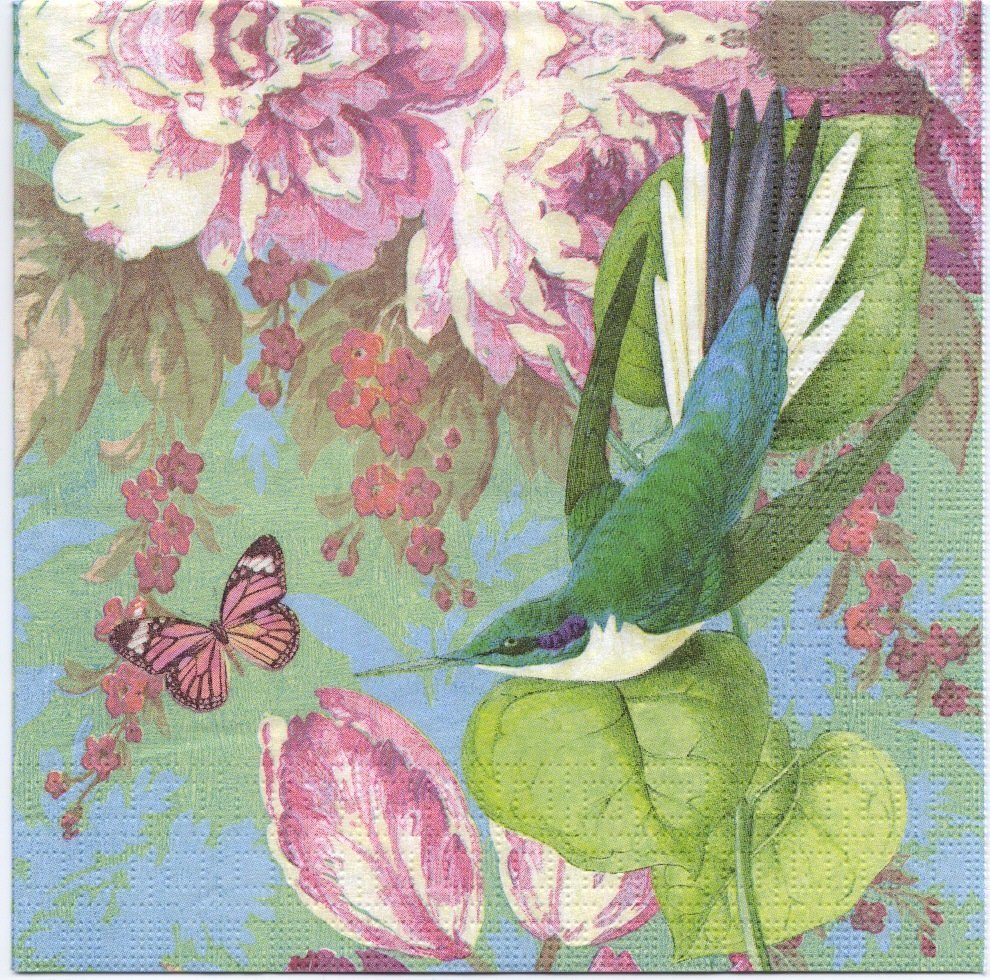 Decoupage Paper Napkins of Flower Garden with Bird & erfly on