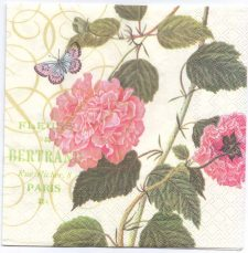 Decoupage Paper Napkins | Vintage French Hibiscus Flowers and Butterfly | Paper Napkins for Decoupage