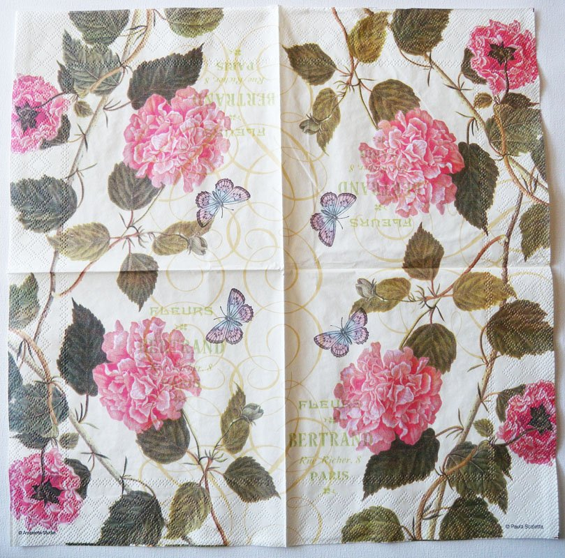 decoupage paper napkins of hibiscus flowers and butterfly