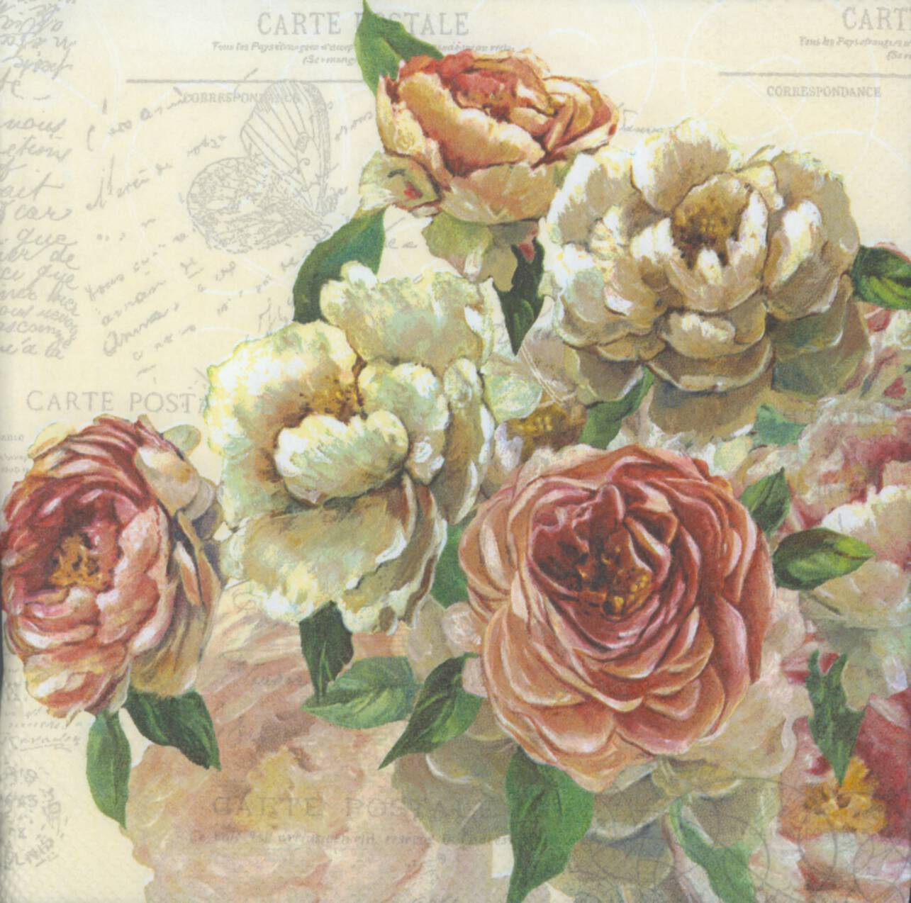 Decoupage paper napkins of roses and postcards mightylinksfo