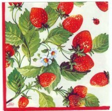 Decoupage Paper Napkins | Fresh Red Strawberries  | Strawberry Napkins | Summer Napkins | Garden Napkins | Paper Napkins for Decoupage