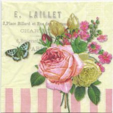Decoupage Paper Napkins | Vintage French Rose and Butterfly | Paper Napkins for Decoupage
