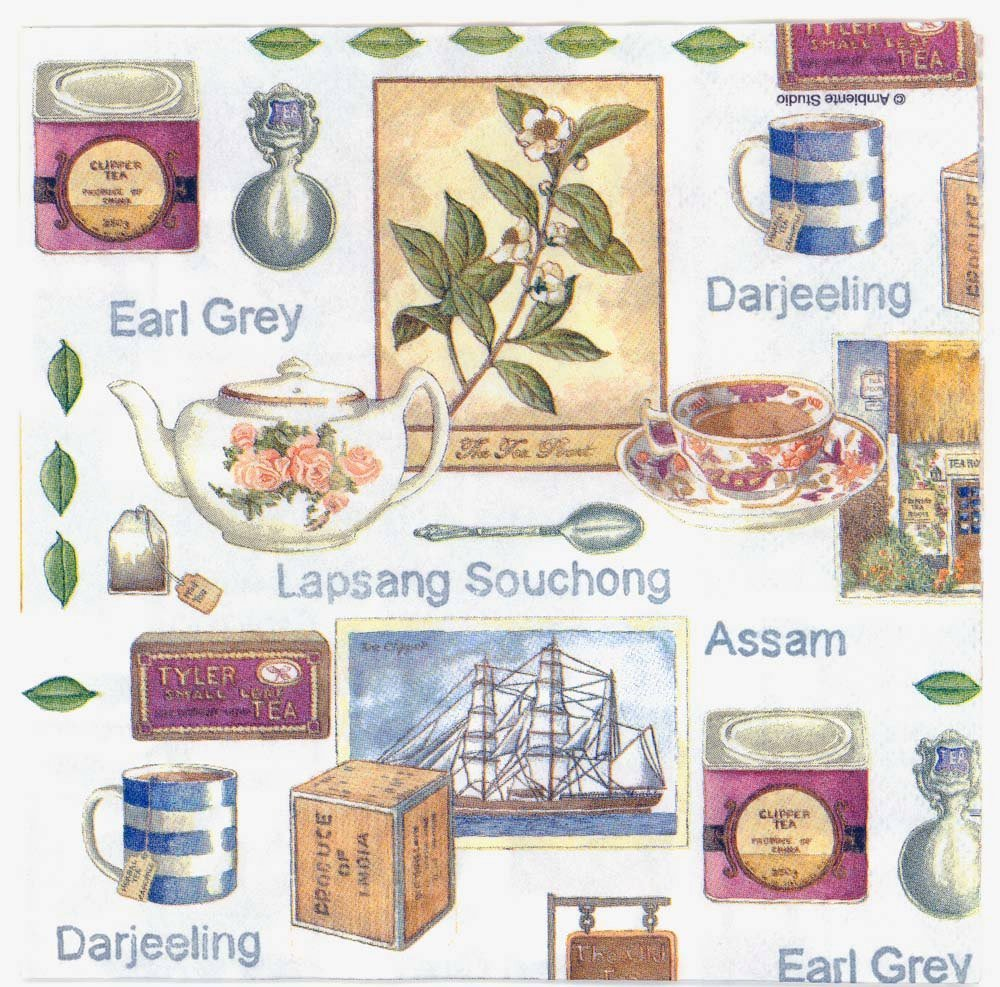 Decoupage Napkins Of Teas Of India With A Tea Clipper