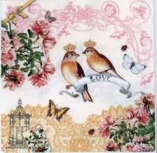 Decoupage Paper Napkins | Love Birds Roses Butterflies | Paper Napkins for Decoupage