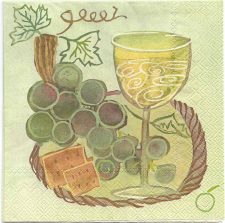 Decoupage Paper Napkins | California Lunch Wine Grapes and Cheese | Paper Napkins for Decoupage