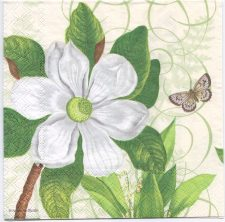 Decoupage Paper Napkins | Magnolia and a Butterfly | Design Lunch Napkin  | Paper Napkins for Decoupage