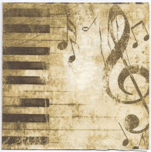 Decoupage Paper Napkins | Classical Music Image of Piano Keys and Music Notes | Paper Napkins for Decoupage