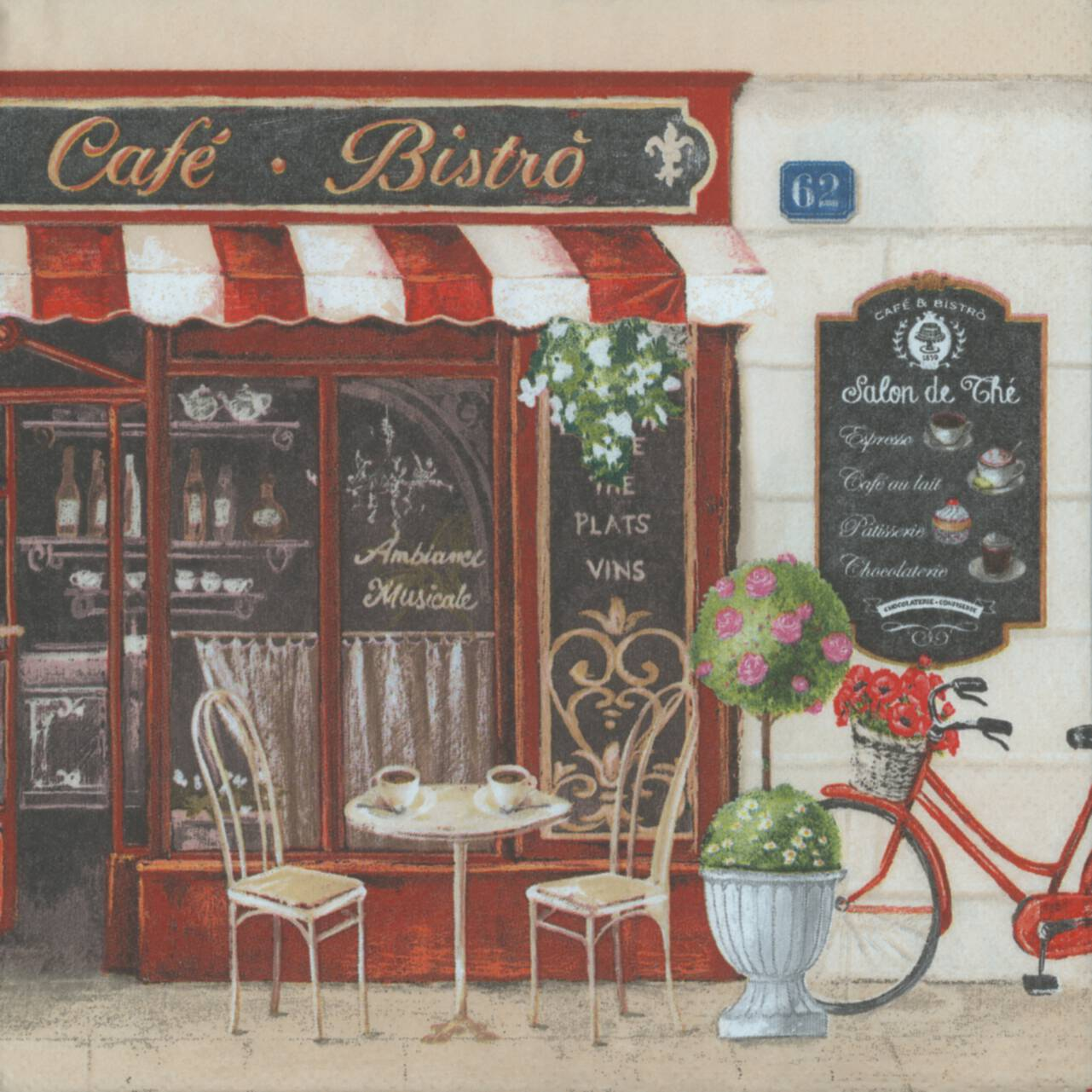 Decoupage Paper Napkins Of Paris Bistro French Cafe And A