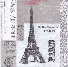 Decoupage Paper Napkins | Artistic Paris Eiffel Tower and French Postmarks| Paper Napkins for Decoupage