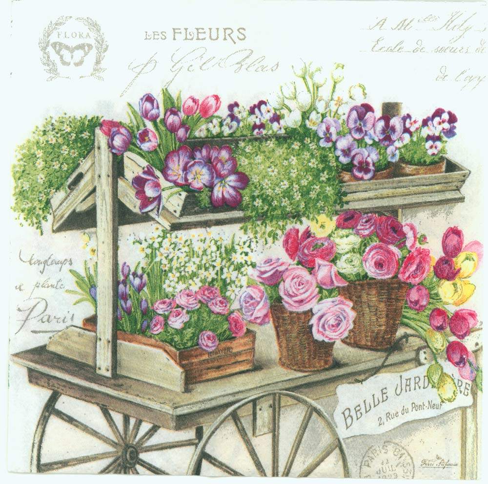 Decoupage Paper Napkins of Paris Flower Wagon : decoupage paper napkins paris france flower wagon rose floral CHN00398 01 from chiarotino.com size 1000 x 990 jpeg 188kB