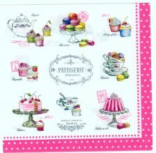 Decoupage Paper Napkins | Paris Patisserie Pastries Cupcakes Cake Sweets | Party Napkins | Summer Napkins | Paper Napkins for Decoupage