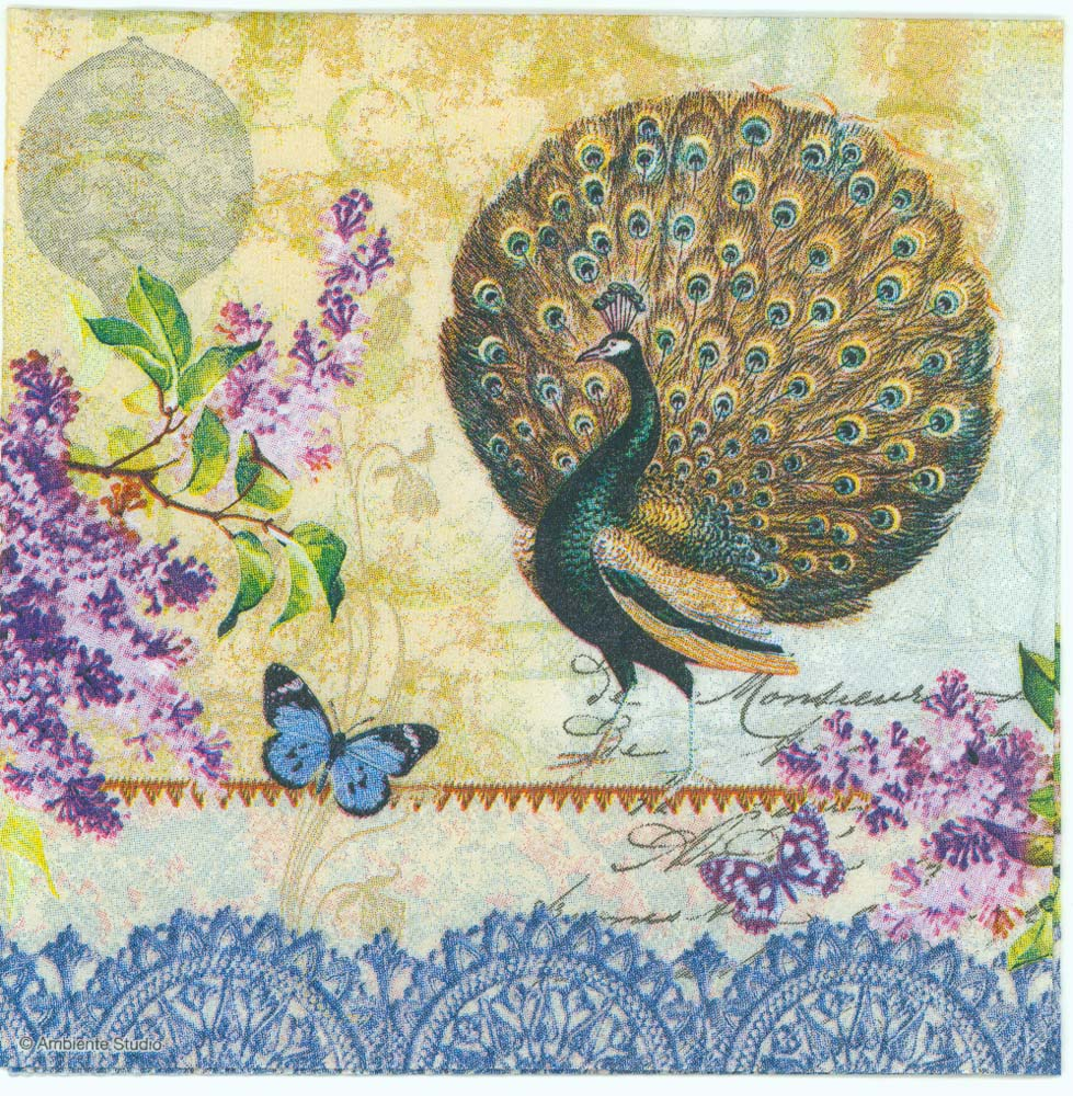 decoupage paper napkins of peacock butterfly flowers balloon