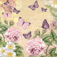 Decoupage Napkins | Flower Napkins | Pastel Rose Garden and Butterflies | Paper Napkins for Decoupage