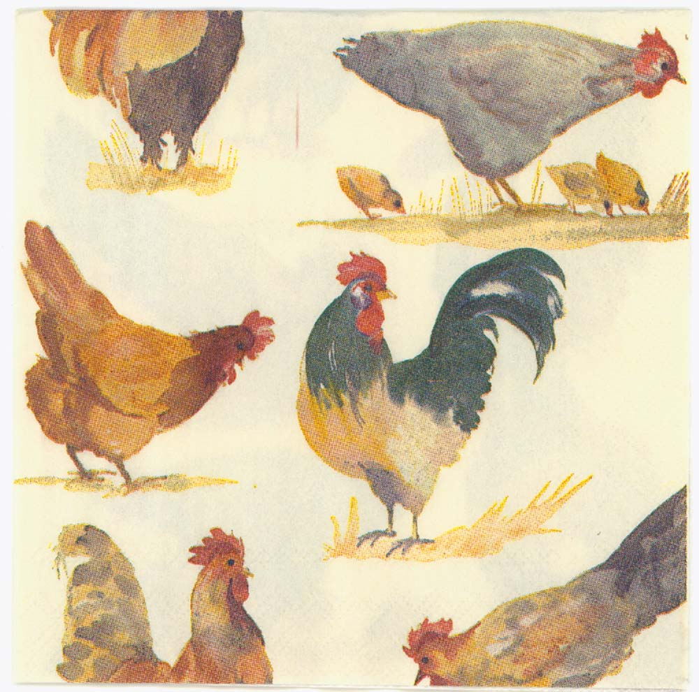 Decoupage Napkins Of Farm Yard Chickens