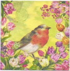 Decoupage Paper Napkins | Vintage Robin and Flowers with Postmark | Paper Napkins for Decoupage