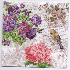 Decoupage Paper Napkins | Robin in a Flower Garden | Paper Napkins for Decoupage