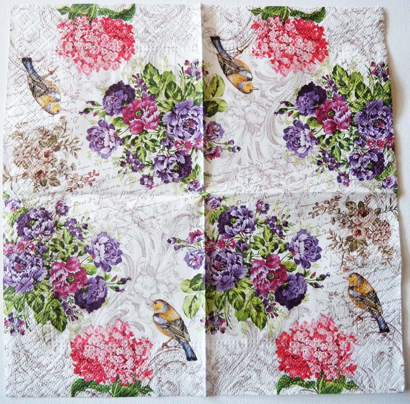 Decoupage paper napkins of shabby robin and flowers mightylinksfo