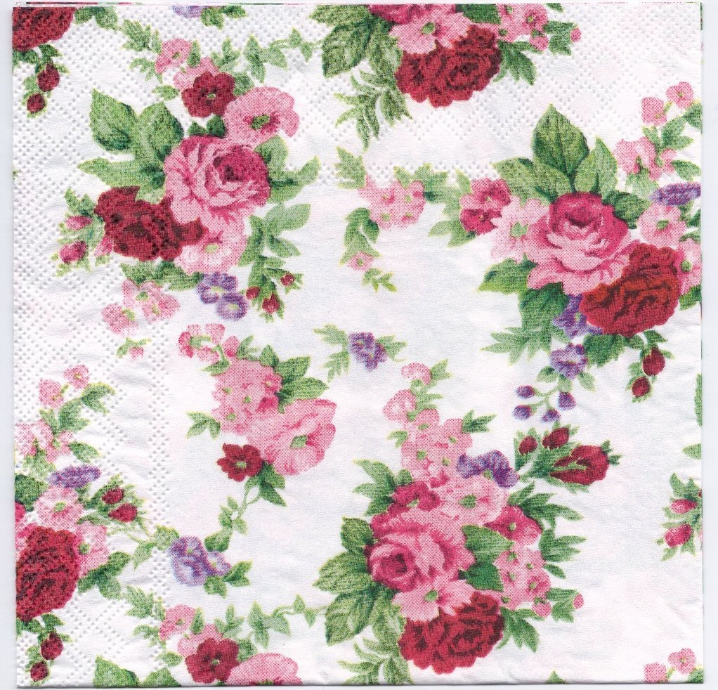 Decoupage Napkins of Winsome Red & Pink Roses