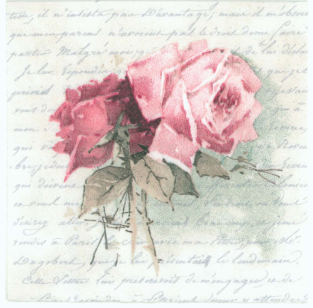 decoupage napkins of vintage roses and love poem