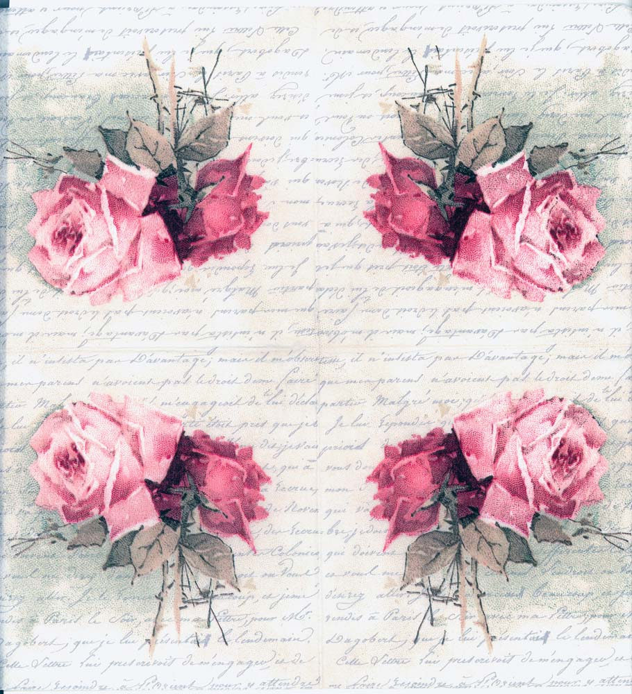Decoupage Napkins Of Vintage Roses And Love Poem Chiarotino