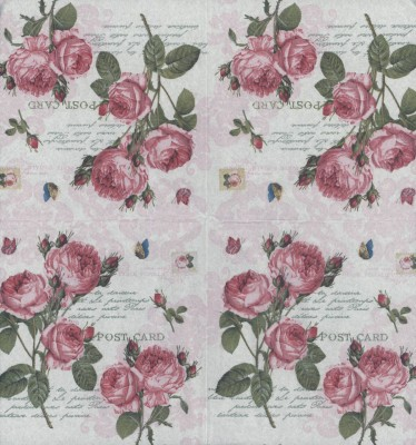 Decoupage Paper Napkins | Romantic Rose with Butterfly Stamp Postmark | Rose Napkins | Floral Napkins | Paper Napkins for Decoupage
