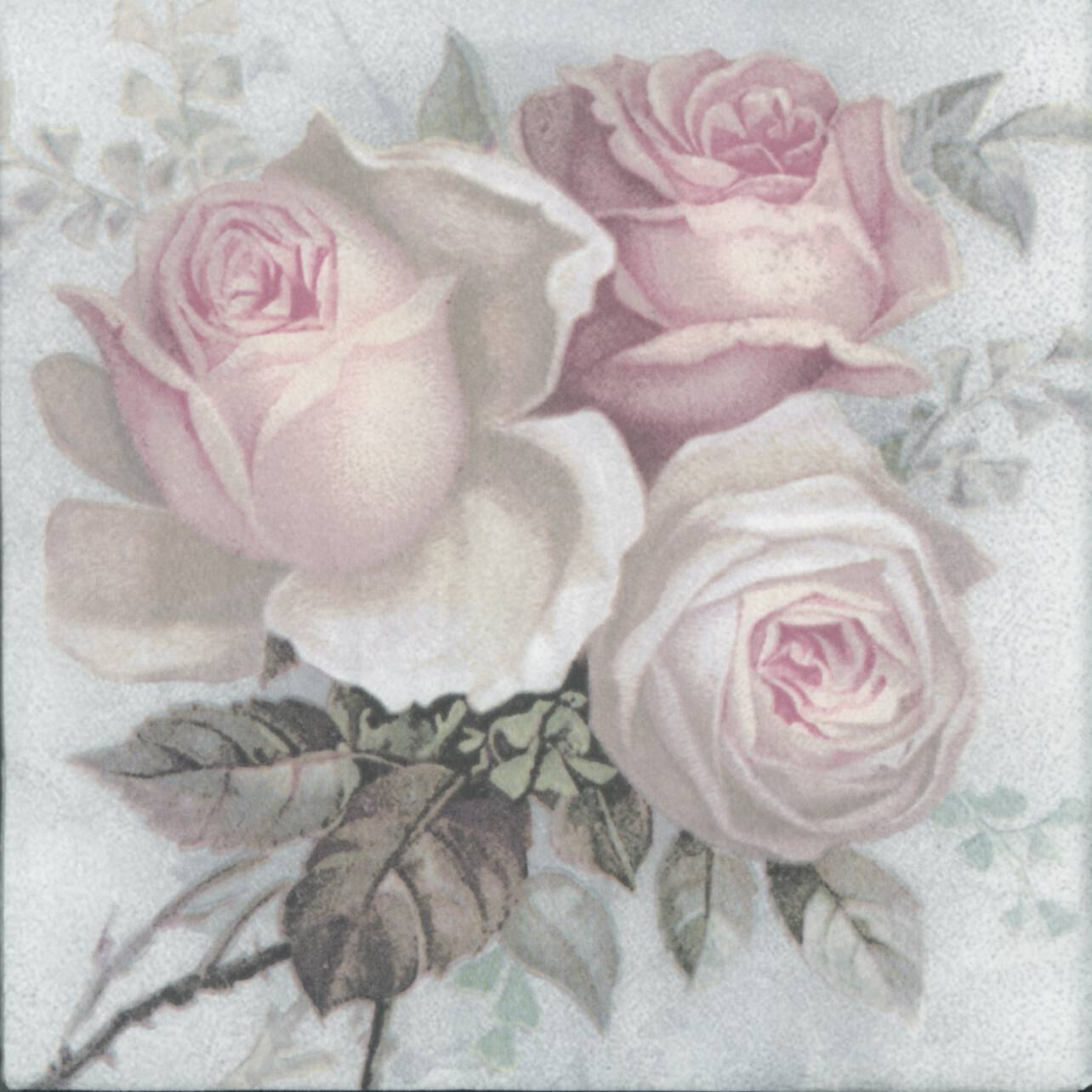Decoupage Paper Napkins Of Large Pastel Rose Bouquet