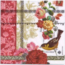 Decoupage Paper Napkins | Roses Lace and Birds | Paper Napkins for Decoupage